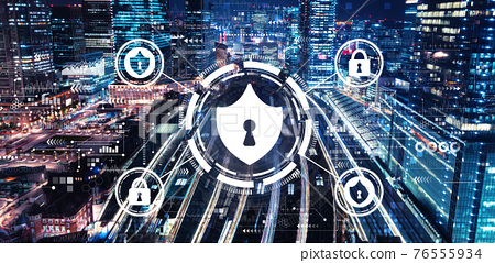 Cyber security theme with a large train station 76555934