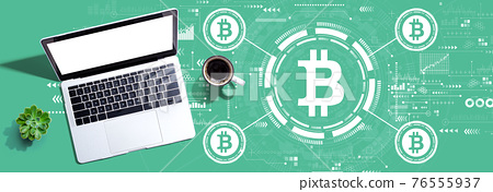 Bitcoin theme with a laptop computer 76555937