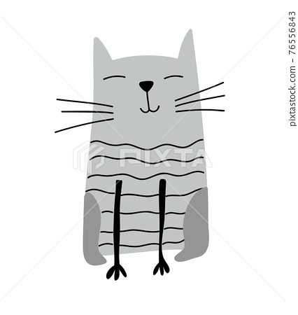 Hand drawn Cute Cat. Vector Scandinavian Design. illustration isolated on a white background. Design element of t-shirt, home textiles, wrapping paper, children textiles 76556843