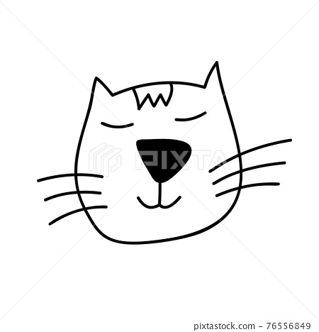 Cute black line face of Scandinavian cat. Hand drawn illustration of a flat. Design element of t-shirt, home textiles, wrapping paper, children textiles 76556849