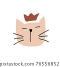 Cute hand drawn Cat face Character Vector Design. Scandinavian illustration isolated on a white background. Design element of t-shirt, home textiles, wrapping paper, children textiles 76556852