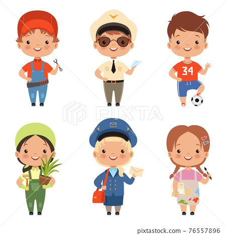 Funny cartoon children characters of various professions 76557896