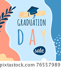 Graduation day sale vector background, promotion card. Trendy design illustration of congratulation graduation with cap, diploma, plant, dot, organic shapes. Modern art in minimalist style 76557989