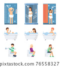 Male and women take a shower in bathroom. Flat illustrations of flat peoples 76558327