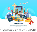 Travel background illustration of different world landmarks 76558581