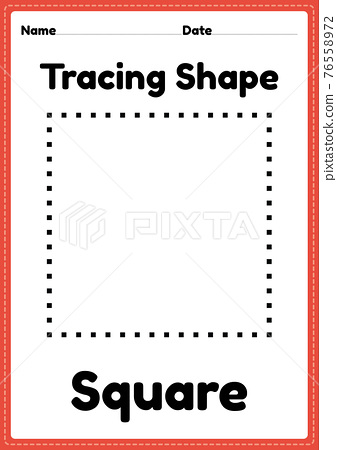 Tracing shape square worksheet for kindergarten and preschool kids for educational activities in a printable illustration 76558972