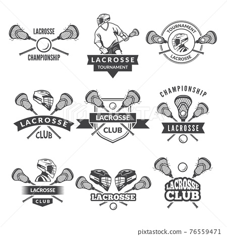 logos or labels for lacrosse team in sport college 76559471