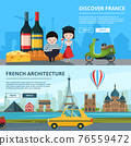 Banners set of french landmarks 76559472