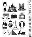 Monochrome illustrations of french landmarks. pictures in cartoon style 76559473