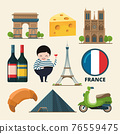 Collection set of france landmarks. icon set in cartoon style 76559475