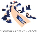 Luge sport racing down the hill. Young character on sled riding among trees and stones. Vector concept illustration 76559728