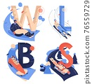 Capital english letters W for wok racing, B for bobsleigh, S for skeleton sport, L for luge isolated on white. Healthy characters riding down 76559729