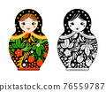 Retro russian doll. Matryoshka painted at khokhloma style. linear and colored pictures 76559787