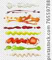 Realistic illustrations of diffrent sauces for food. Wasabi, mayonnaise and ketchup 76559788