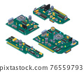 Different computer boards with semiconductors, capacitor and chips 76559793