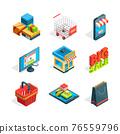 Isometric icon set of online shopping. Symbols of ecommerce. Buying in internet 76559796