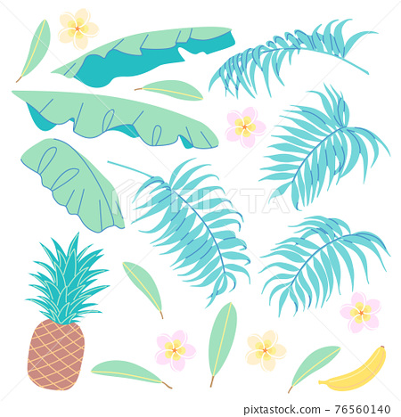 Banana leaves, palm fronds, pineapple and plumeria flower 76560140
