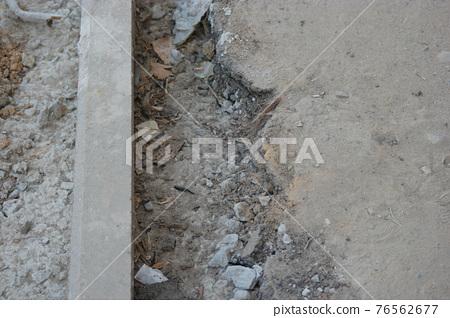 Concrete curbstone installation, copyspace 76562677