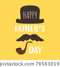 fathers day card with mustache, hat and pipe 76563019