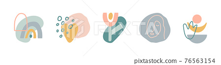 Organic shapes compositions set. Minimal stylish cover template. Hand draw abstract design elements in pastel colors. Art form for social media stories, branding, banner, decor. Vector illustration 76563154