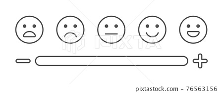 Feedback line art icons. Survey concept. Review emoji reaction set. Satisfaction scale. Business service. Consumer opinion. Customer design elements. Communication banner. Vector illustration 76563156