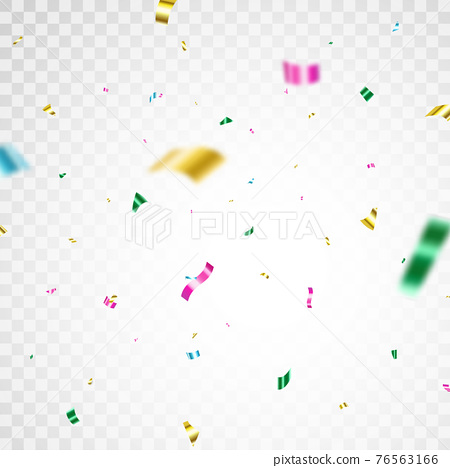 Color confetti background. Carnival serpentine and tinsel poster. Glitter falling paper. Anniversary party. Celebrate festive event card. Birthday surprise decoration. Vector illustration 76563166