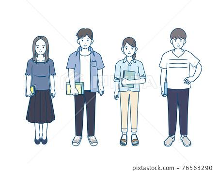 大學生 男人和女人 男女 76563290