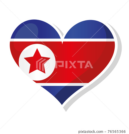 Flag of North Korea in heart shaped 76565366
