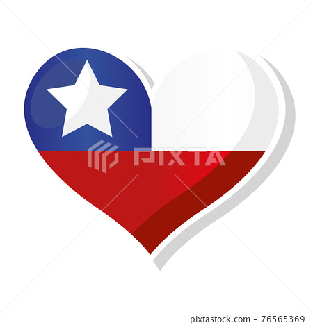 Flag of Chile in heart shaped 76565369