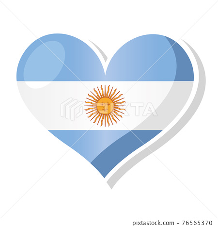 Flag of Argentina in heart shaped 76565370