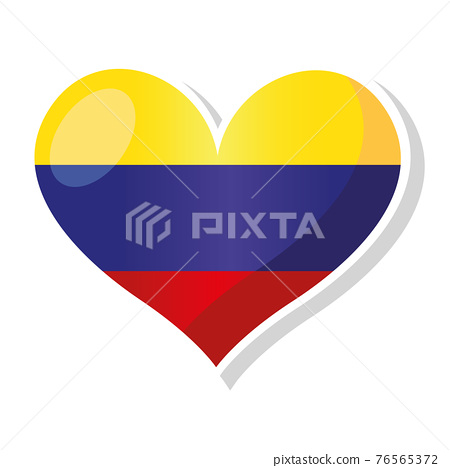 Flag of Colombia in heart shaped 76565372