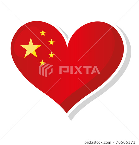 Flag of in heart shaped 76565373