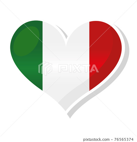 Flag of Italy in heart shaped 76565374
