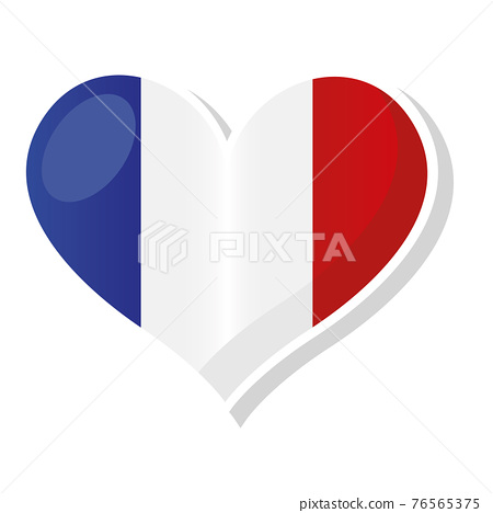 Flag of France in heart shaped 76565375