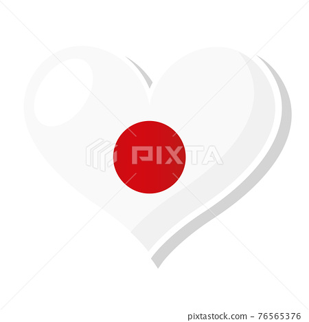 Flag of Japan in heart shaped 76565376