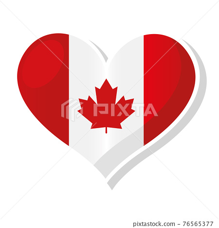 Flag of Canada in heart shaped 76565377