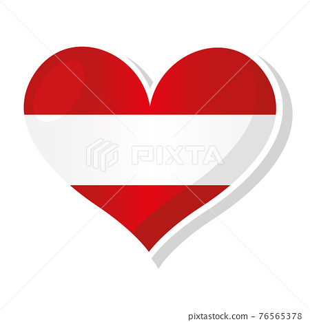 Flag of Austria in heart shaped 76565378