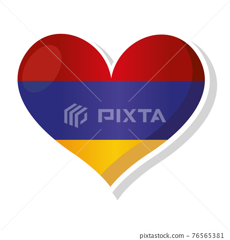 Flag of Armenia in heart shaped 76565381