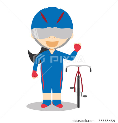 Sports cartoon vector illustrations: Track Cycling (female) 76565439