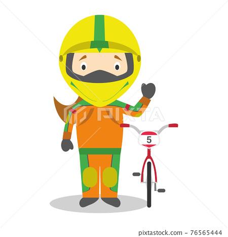 Sports cartoon vector illustrations: BMX Cycling (female) 76565444