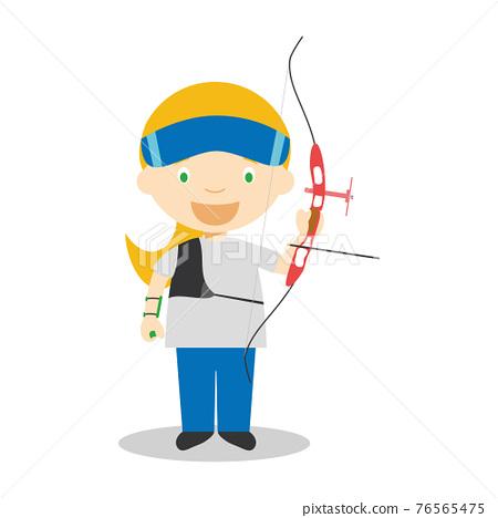 Sports cartoon vector illustrations: Archery (female) 76565475