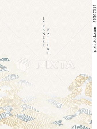 Japanese hand draw wave pattern with line pattern vector. Oriental background with ocean sea template in vintage style. 76567315