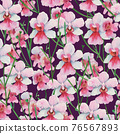 Seamless pattern with orchid Vanda Miss Joaquim, national Singapore flower. Watercolor painting. 76567893