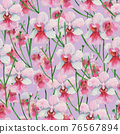 Seamless pattern with orchid Vanda Miss Joaquim, national Singapore flower. Watercolor painting. 76567894