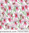 Seamless pattern with orchid Vanda Miss Joaquim, national Singapore flower. Watercolor painting. 76567895