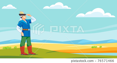 A medieval Central Asian Kazakh or Kyrgyz youth looks into the distant steppe. Nomad man. Cartoon vector illustration 76571466
