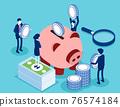 Saving money or cash back concept. Blue coins stack and banknotes bundle 76574184