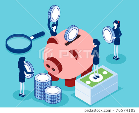 Saving money or cash back concept. Blue coins stack and banknotes bundle 76574185