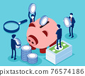 Saving money or cash back concept. Blue coins stack and banknotes bundle 76574186