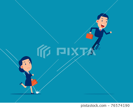 Partner uses spring to jump in front of his companion. Business competition concept 76574190